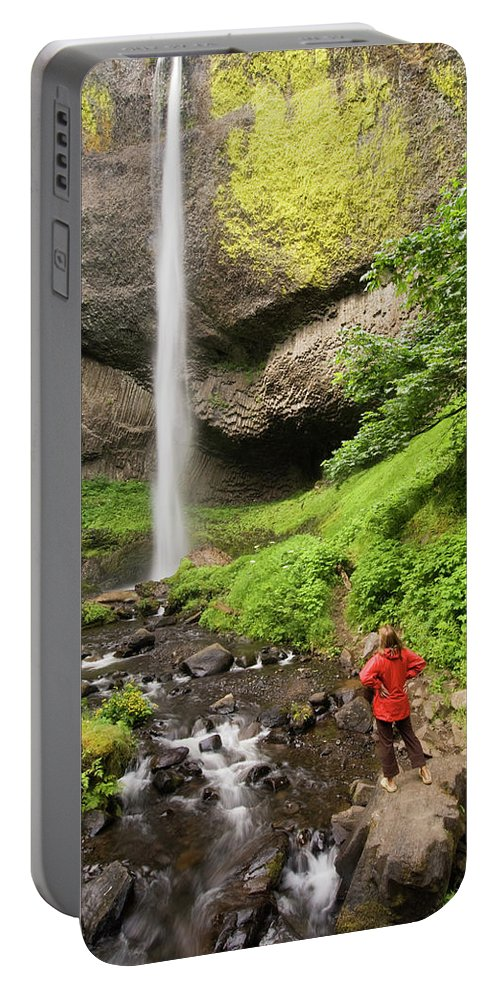 Color Image Portable Battery Charger featuring the photograph A Woman Admires Latourel Falls On June by Tom Bol