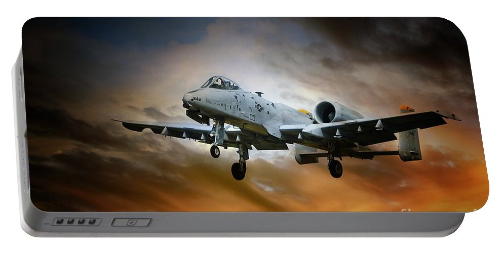 A-10 Thunderbolt Ii Portable Battery Charger featuring the digital art A10 Thunderbolt II by J Biggadike