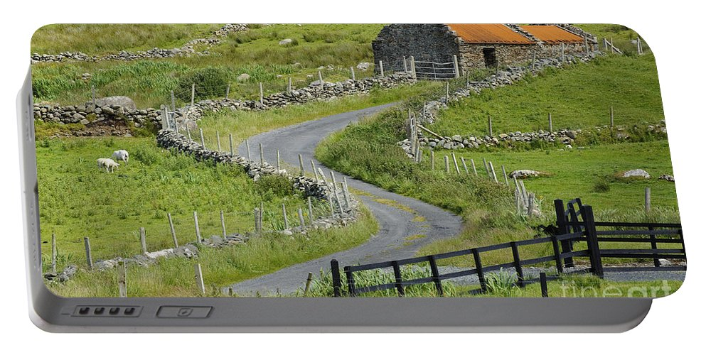 County Mayo Portable Battery Charger featuring the photograph Abandoned Farm Building by John Shaw