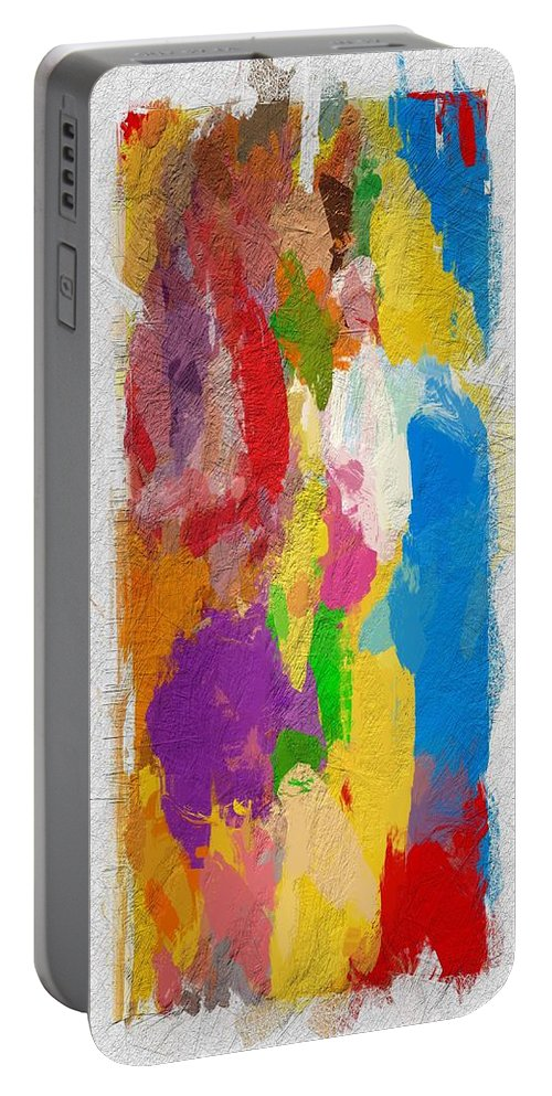 Abstract Color Colors Colorful Painting Expressionism Portable Battery Charger featuring the painting Abstract Colors by Steve K