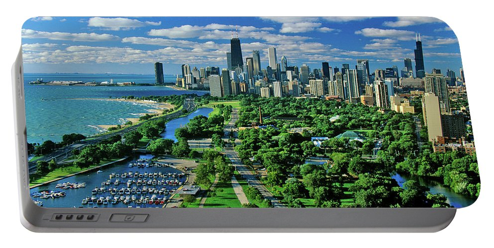 Photography Portable Battery Charger featuring the photograph Aerial View Of Chicago, Illinois by Panoramic Images