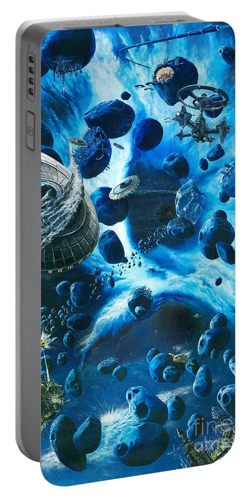 Asteroid Portable Battery Charger featuring the painting Alien Pirates by Murphy Elliott