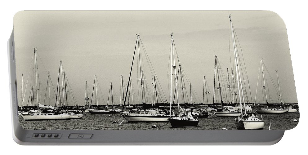 Sail Portable Battery Charger featuring the photograph All Aboard Bw by Pablo Rosales
