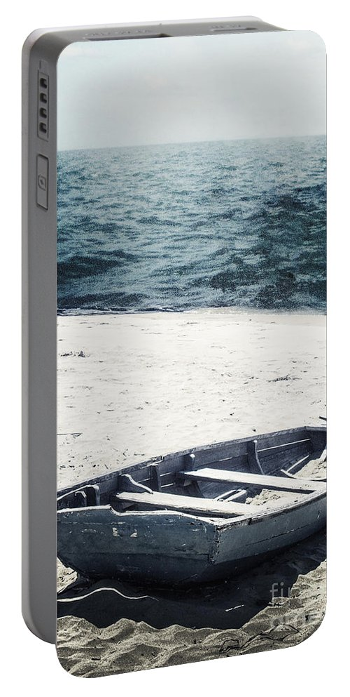 Boat Portable Battery Charger featuring the photograph Along The Shore by Margie Hurwich