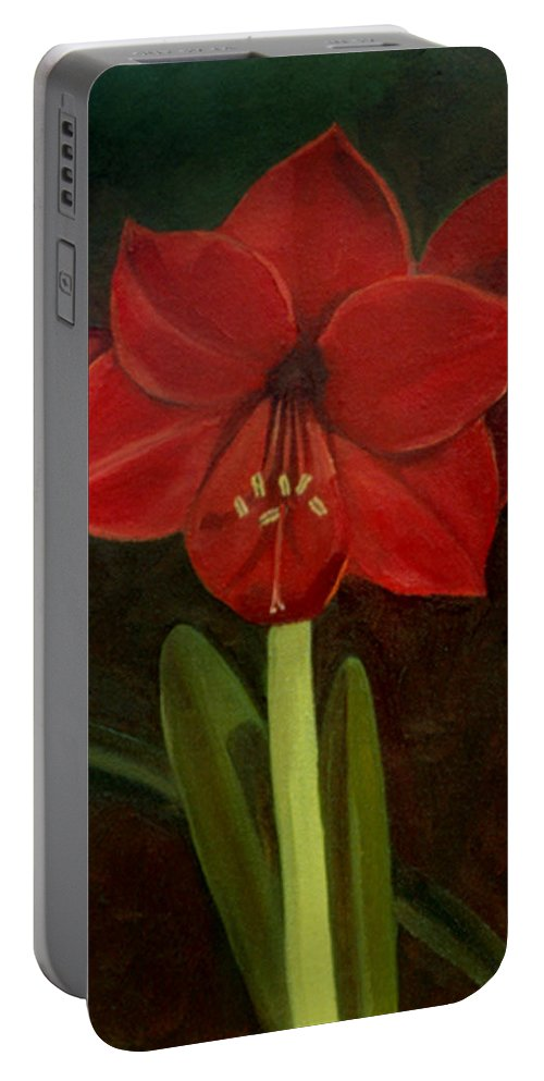 Amaryllis Portable Battery Charger featuring the painting Amaryllis by Nancy Griswold