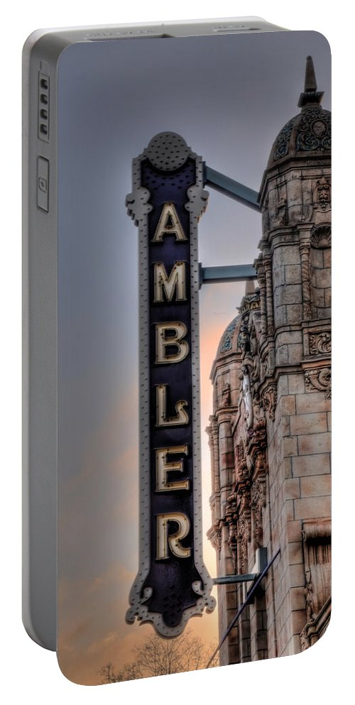 Ambler Portable Battery Charger featuring the photograph Ambler Theater - Ambler Pa by Bill Cannon