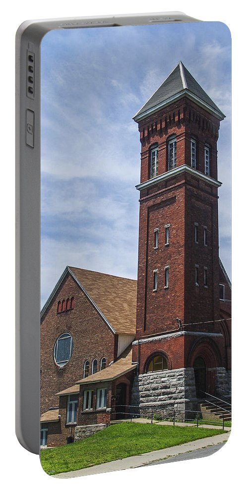 Amsterdam New York Portable Battery Charger featuring the photograph Amsterdam Steeple by Eric Swan