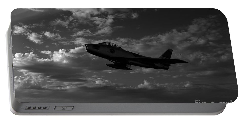 Horizontal Portable Battery Charger featuring the photograph An F-86f Sabre In Flight Near Glendale by Scott Germain