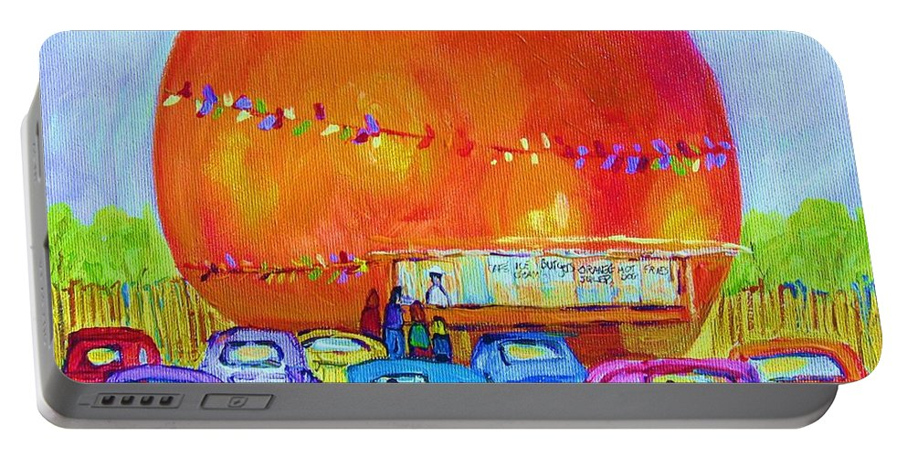 Cars Portable Battery Charger featuring the painting Antique Cars At The Julep by Carole Spandau