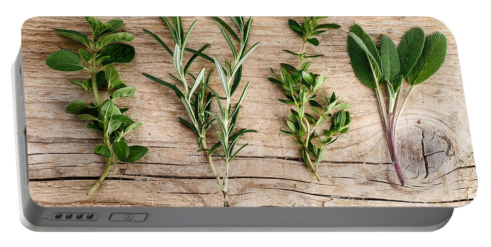 Rosemary Portable Battery Charger featuring the photograph Assorted Fresh Herbs by Nailia Schwarz