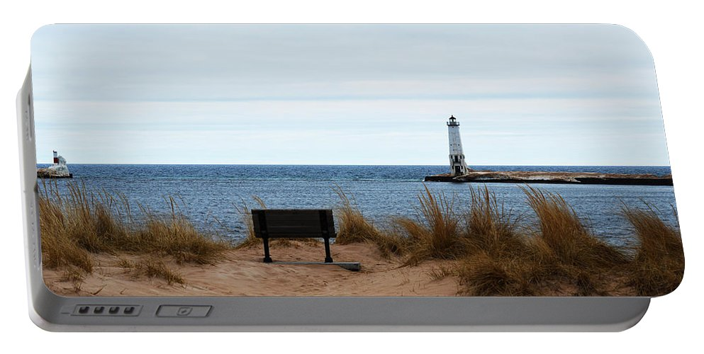 Frankfort Michigan Portable Battery Charger featuring the photograph At The Beach by Linda Kerkau