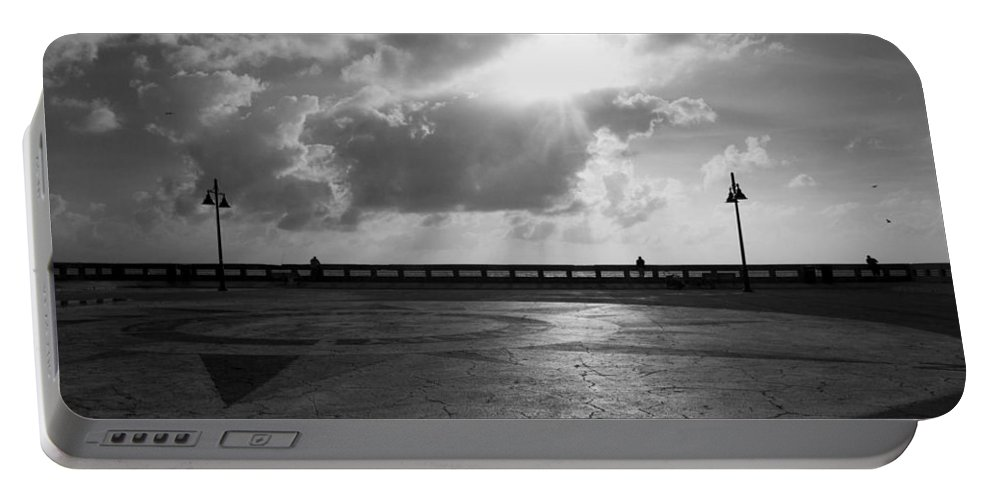 Monochromatic Portable Battery Charger featuring the photograph At The Pier by Kathleen Odenthal