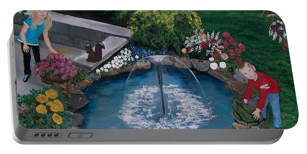 Backyard Portable Battery Charger featuring the painting At The Pond by Sharon Duguay