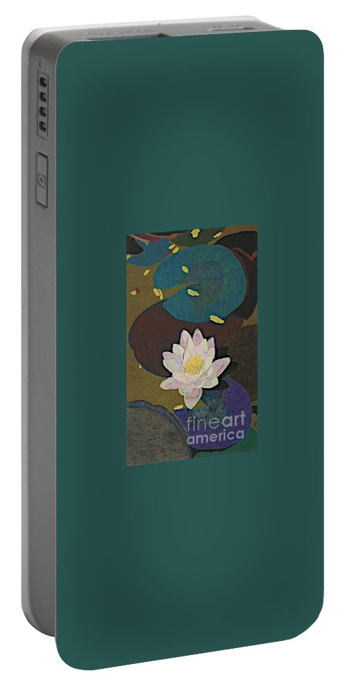 Landscape Portable Battery Charger featuring the painting Autumn Lily by Allan P Friedlander