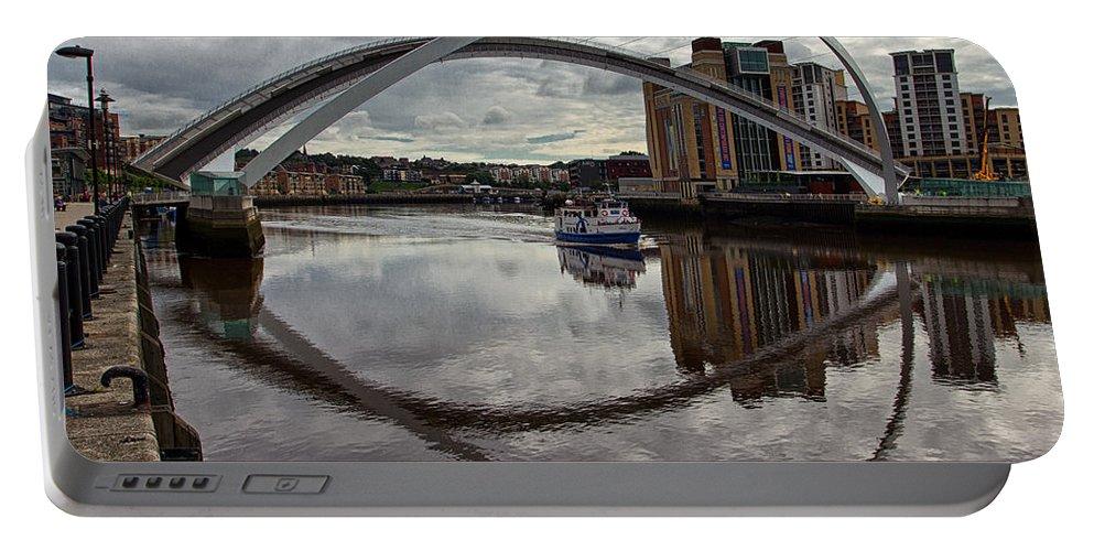 Millennium Bridge Portable Battery Charger featuring the photograph Baltic And Gateshead Millennium Bridge by David Pringle