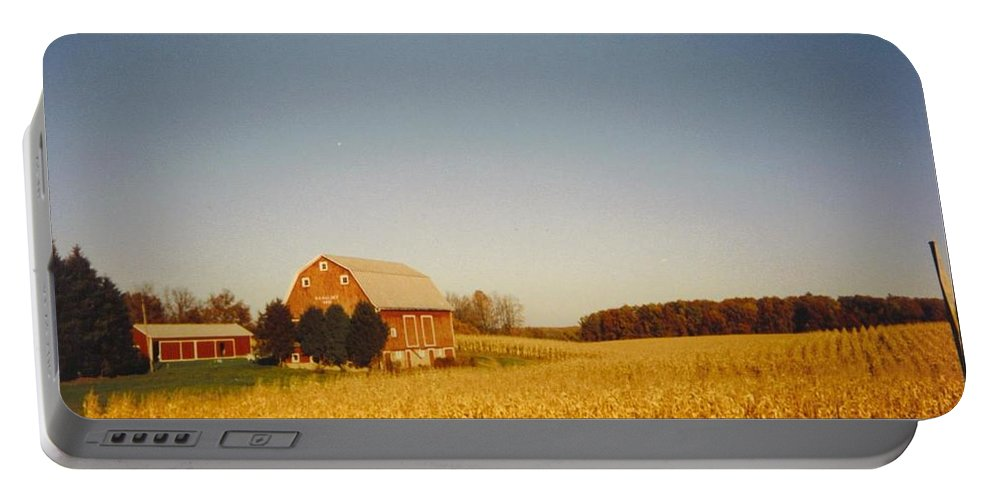 Michigan Barn And Corn Field In Fall Colors. Portable Battery Charger featuring the photograph Barn And Corn Field by Robert Floyd