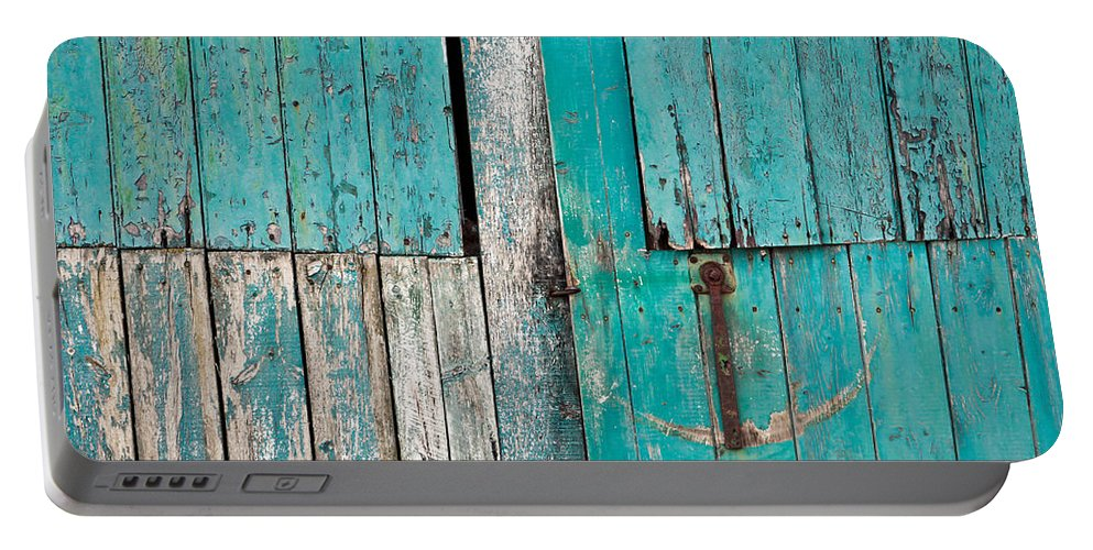 Abandoned Portable Battery Charger featuring the photograph Barn Door 1 by Tom Gowanlock