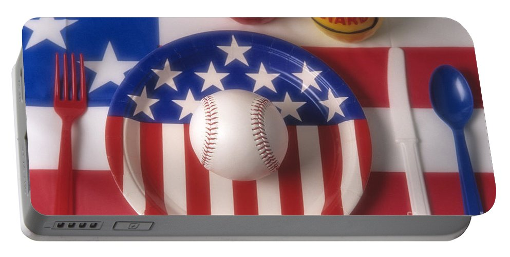 Eat Portable Battery Charger featuring the photograph Baseball Dinner by Jim Corwin