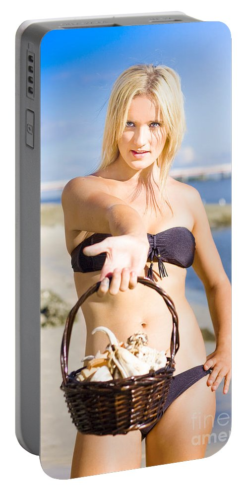 Blonde Portable Battery Charger featuring the photograph Beach Flirt 1 by Jorgo Photography - Wall Art Gallery