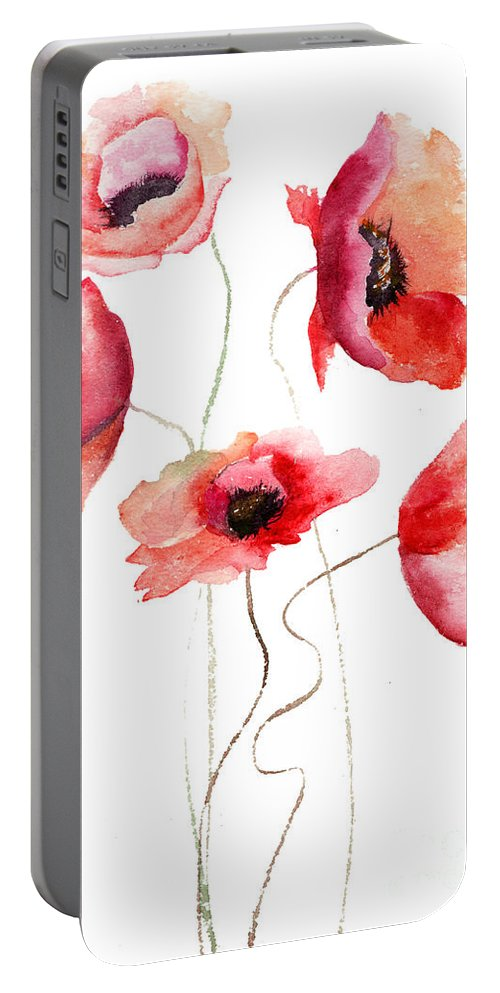 Art Portable Battery Charger featuring the painting Beautiful Poppy Flowers by Regina Jershova