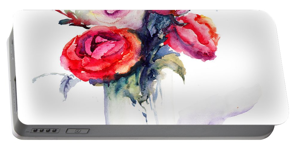 Abstract Portable Battery Charger featuring the painting Beautiful Roses Flowers by Regina Jershova