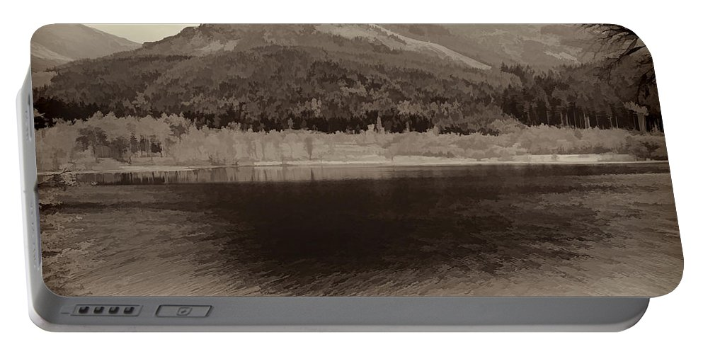 Beauty Of Scottish Highlands Portable Battery Charger featuring the photograph Beauty Of A Loch And Natural Surroundings In The Scottish Highlands by Ashish Agarwal