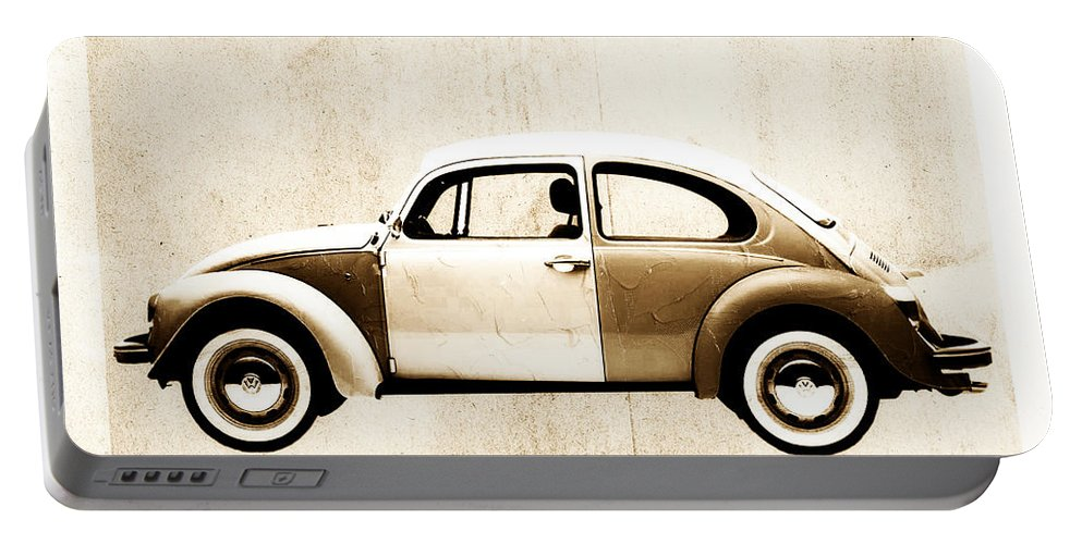 Beetle Portable Battery Charger featuring the digital art Beetle Car by David Ridley