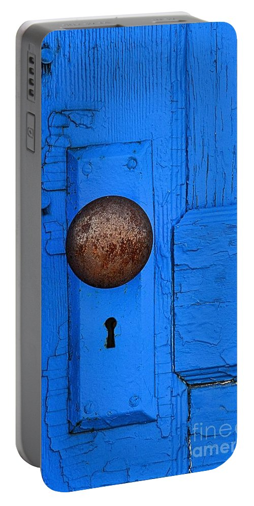 Abstract Portable Battery Charger featuring the photograph Blue Door by Lauren Leigh Hunter Fine Art Photography