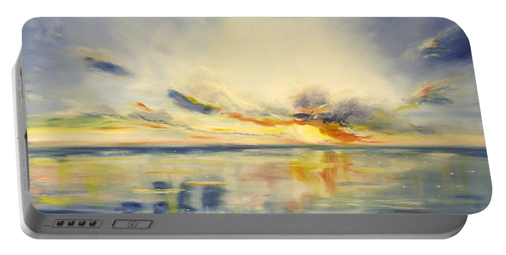 Blue Portable Battery Charger featuring the painting Blue Sunset by Gina De Gorna