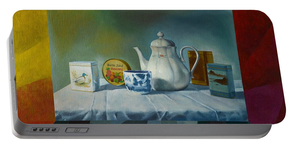Still-life Portable Battery Charger featuring the painting Bonbons by Jukka Nopsanen