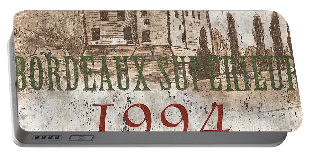 Wine Portable Battery Charger featuring the painting Bordeaux Blanc Label 2 by Debbie DeWitt