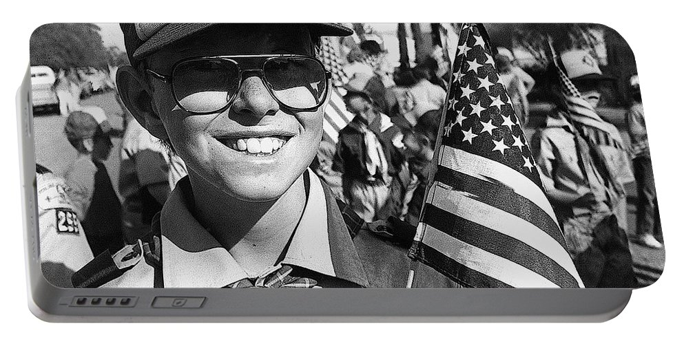 Boy Scout Veteran's Day Parade Tucson Arizona 1990 Black And White Portable Battery Charger featuring the photograph Boy Scout Veteran's Day Parade Tucson Arizona 1990 Black And White by David Lee Guss
