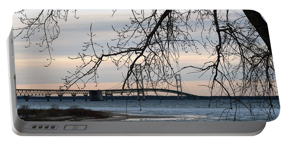 Mackinaw Bridge Portable Battery Charger featuring the photograph Bridge by Linda Kerkau