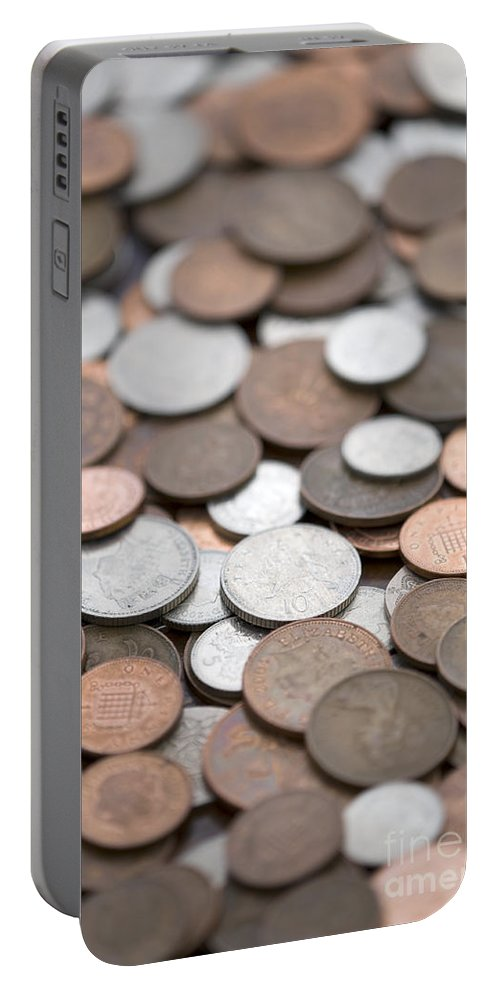 Sterling Portable Battery Charger featuring the photograph British Coins Sterling Full Frame by Lee Avison