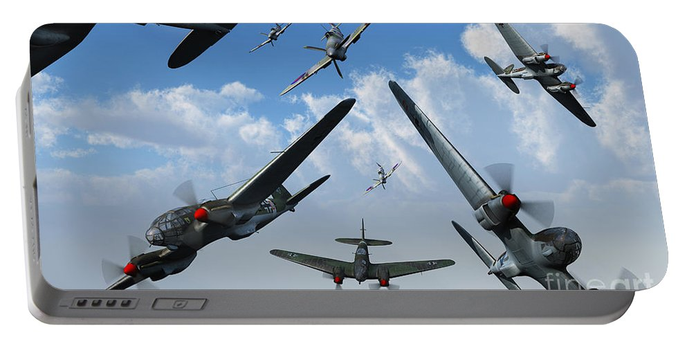 Artwork Portable Battery Charger featuring the digital art British Supermarine Spitfires Attacking by Mark Stevenson