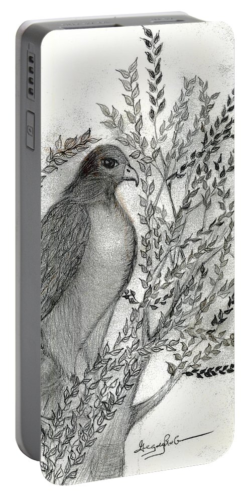 Hawk Portable Battery Charger featuring the drawing Brother Hawk by Greg Roberson
