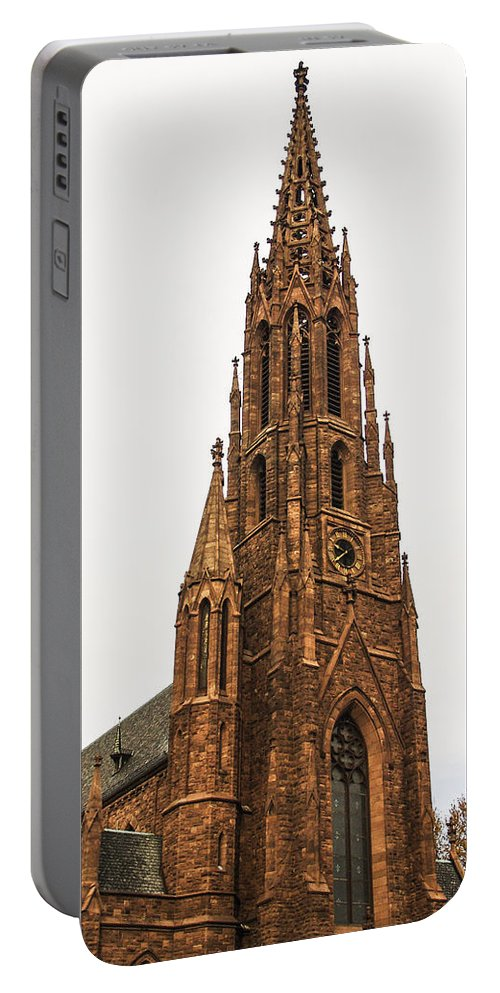 Religion Portable Battery Charger featuring the photograph Brownstone Church by Eric Swan