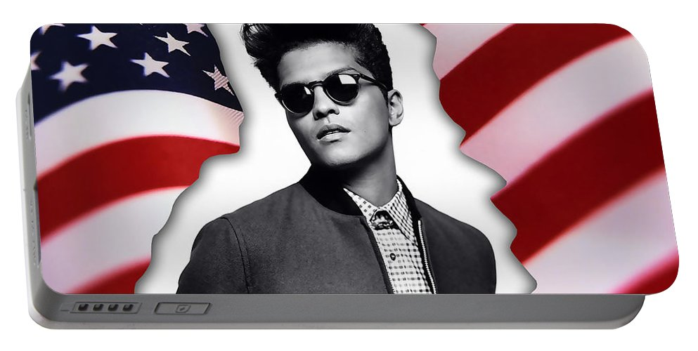 Bruno Mars Digital Art Portable Battery Charger featuring the mixed media Bruno Mars by Marvin Blaine