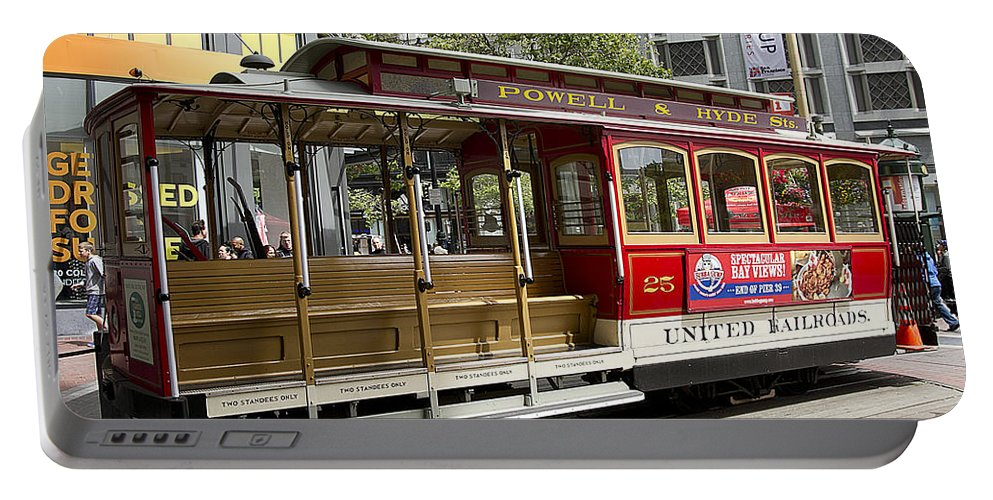 Cable Portable Battery Charger featuring the photograph Cable Car On Turntable San Francisco by Peter Lloyd