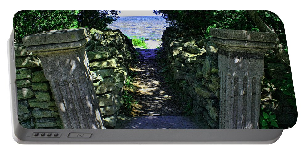 Cana Island Portable Battery Charger featuring the photograph Cana Island Walkway Wi by Tommy Anderson