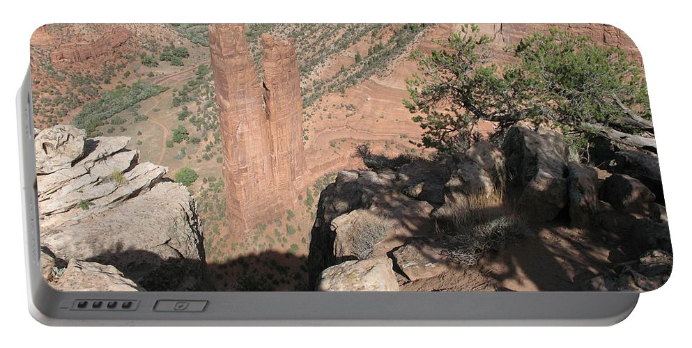 Canyon Portable Battery Charger featuring the photograph Canyon De Chelly Spider Rock by Christiane Schulze Art And Photography