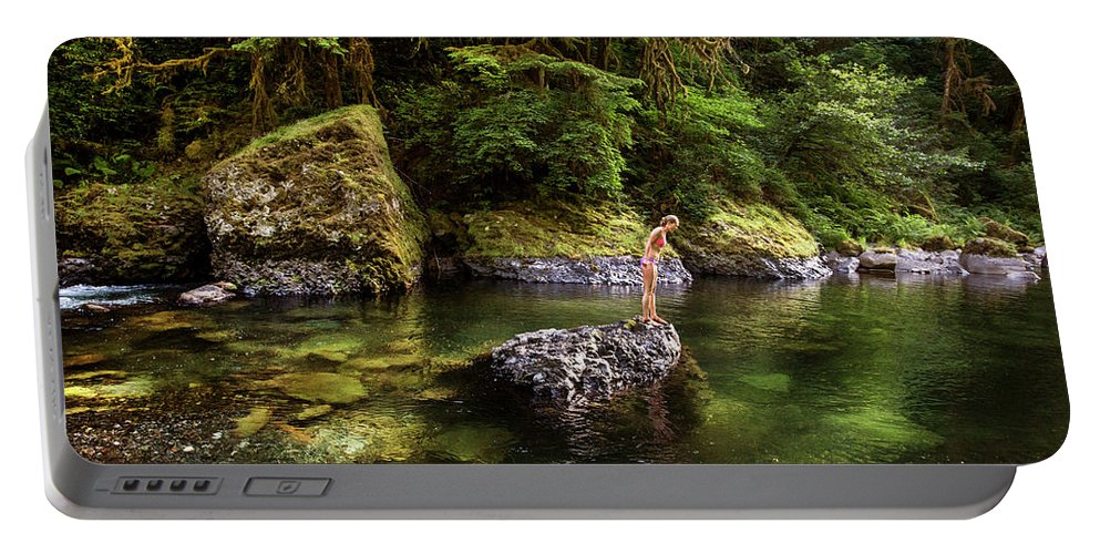 Side View Portable Battery Charger featuring the photograph Cascade Locks, Oregon, Usa. A Woman by David Hanson