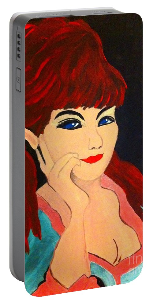 Woman Portrait Red Hair Secret Smile Blue Dress Pink Dress Black Background Vintage Dress Portable Battery Charger featuring the painting Cat Eye Woman by Saundra Myles