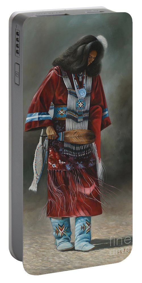 Native-american Portable Battery Charger featuring the painting Ceremonial Red by Ricardo Chavez-Mendez