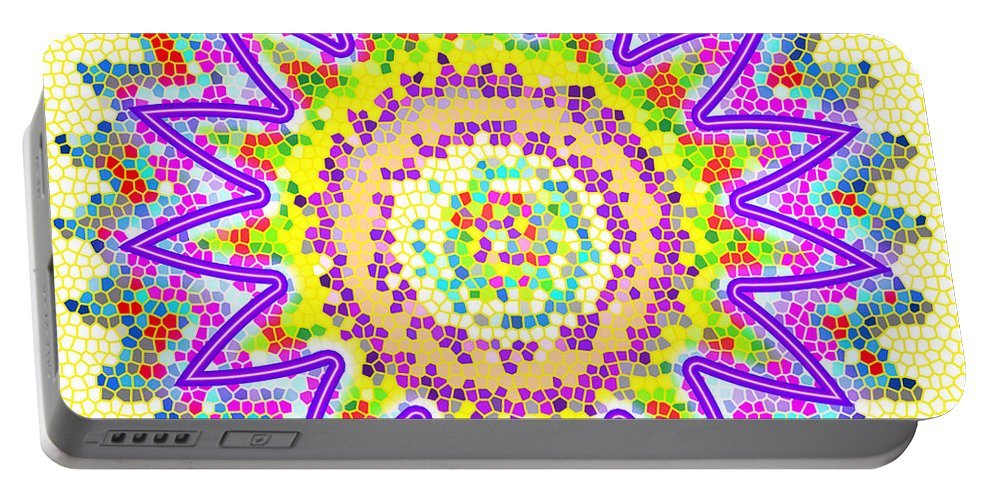 Chakra Portable Battery Charger featuring the photograph Chakra Energy Mandala Ancient Healing Meditation Tool Stained Glass Pixels Live Spinning Wheel by Navin Joshi