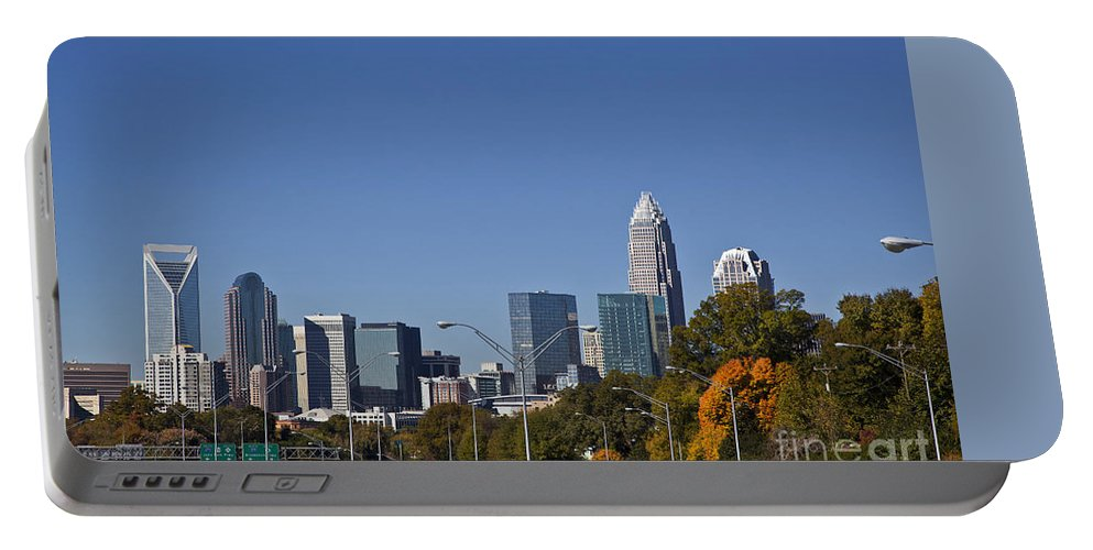 Skyline Portable Battery Charger featuring the photograph Charlotte Skyline by Jill Lang