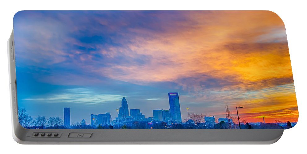 Charlotte Portable Battery Charger featuring the photograph Charlotte The Queen City Skyline At Sunrise by Alex Grichenko