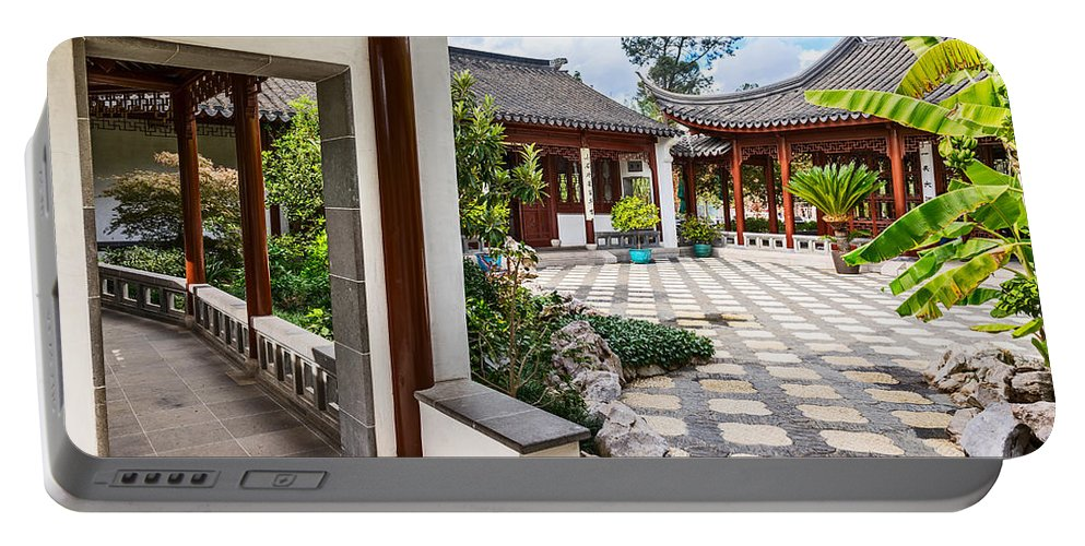 Chinese Garden Portable Battery Charger featuring the photograph Chinese Courtyard by Jamie Pham