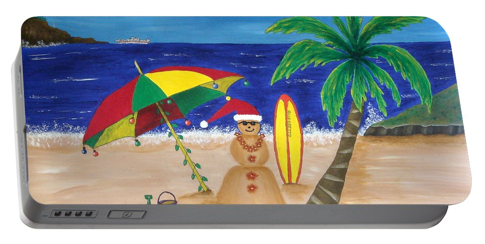 Pamela Allegretto Franz Portable Battery Charger featuring the painting Christmas In Kona by Pamela Allegretto