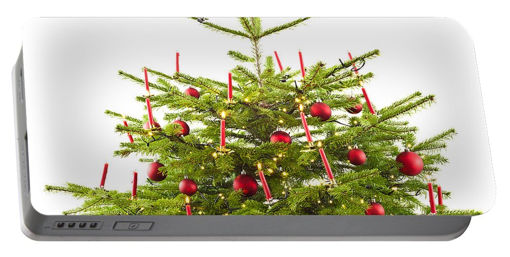 Red Portable Battery Charger featuring the photograph Christmas Tree Decorated With Presents by U Schade